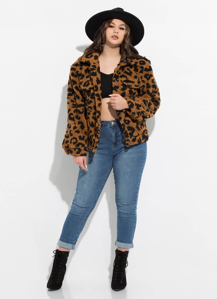 Spotted In Leopard Faux Shearling Coat BROWN