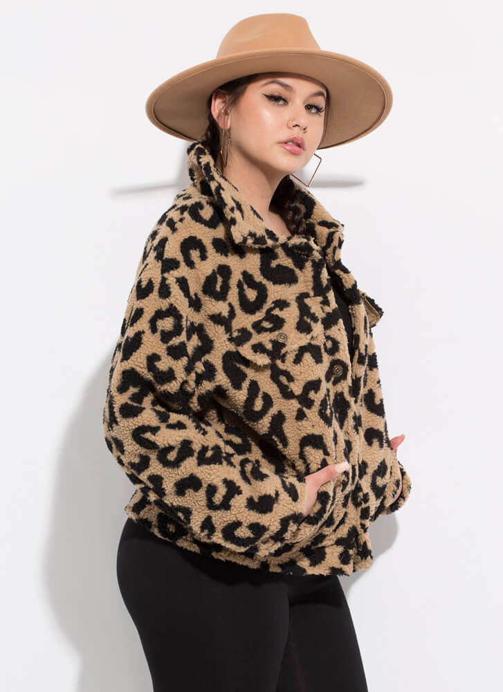 Spotted In Leopard Faux Shearling Coat TAUPE