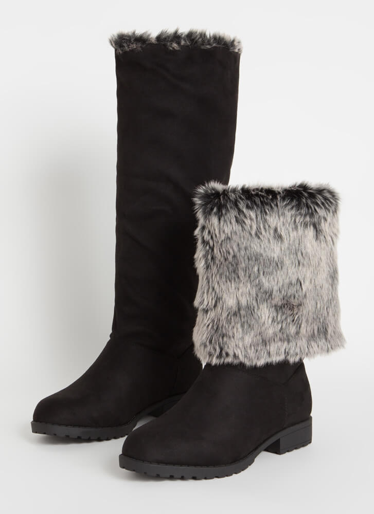 You Decide Furry Foldover Boots BLACK