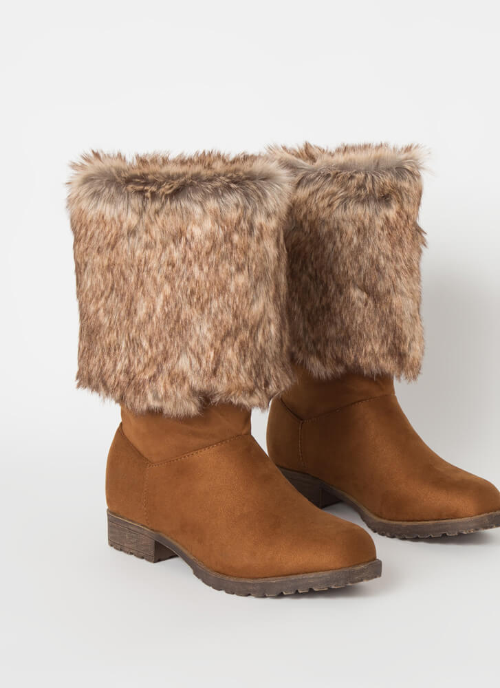 You Decide Furry Foldover Boots TOBACCO