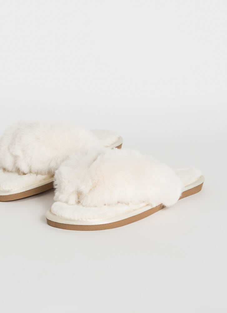 Just Fluff Faux Fur Thong Sandals WHITE