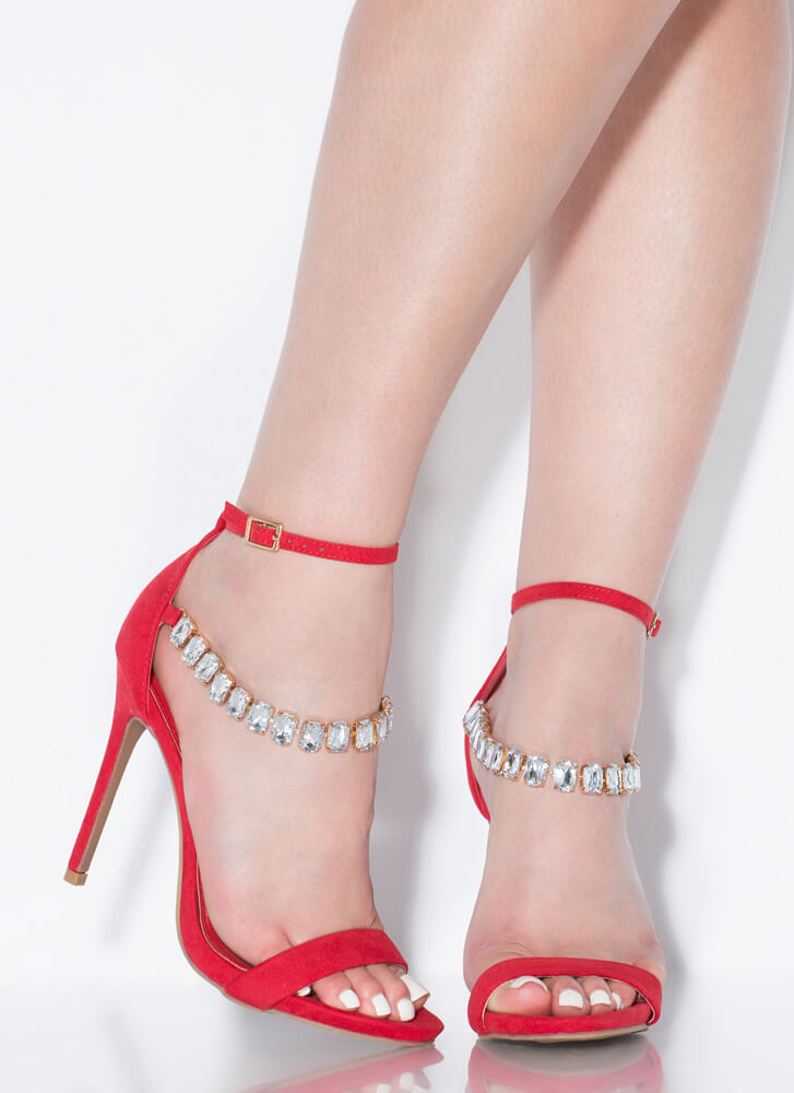 Luxe Be A Lady Jewel Strap Heels RED