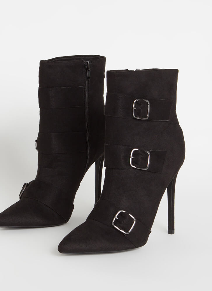 3 Straps And You're Out Buckled Booties BLACK