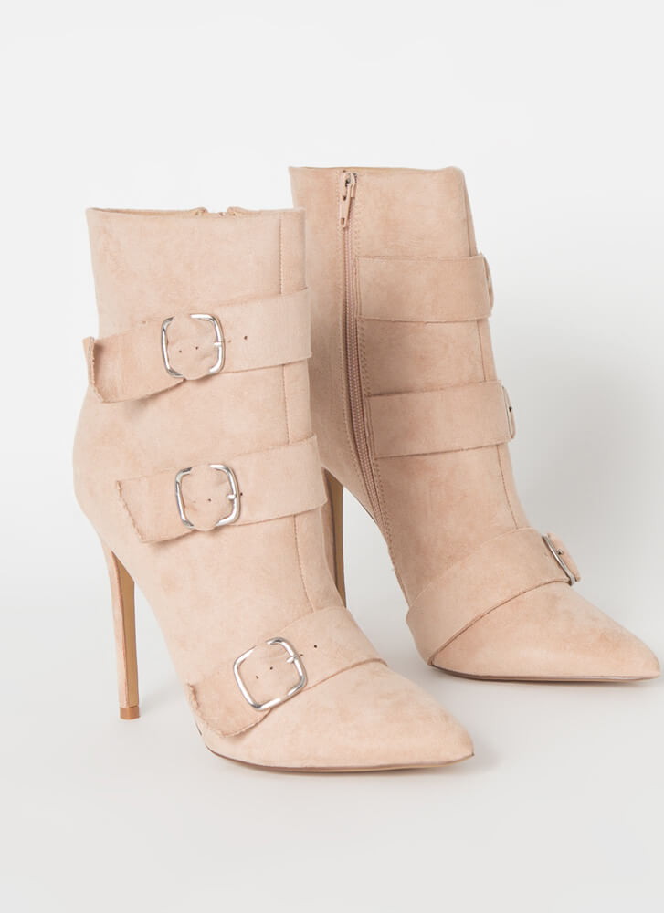 3 Straps And You're Out Buckled Booties CAMEL