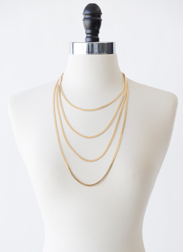 So Fly Draped Herringbone Chain Necklace GOLD