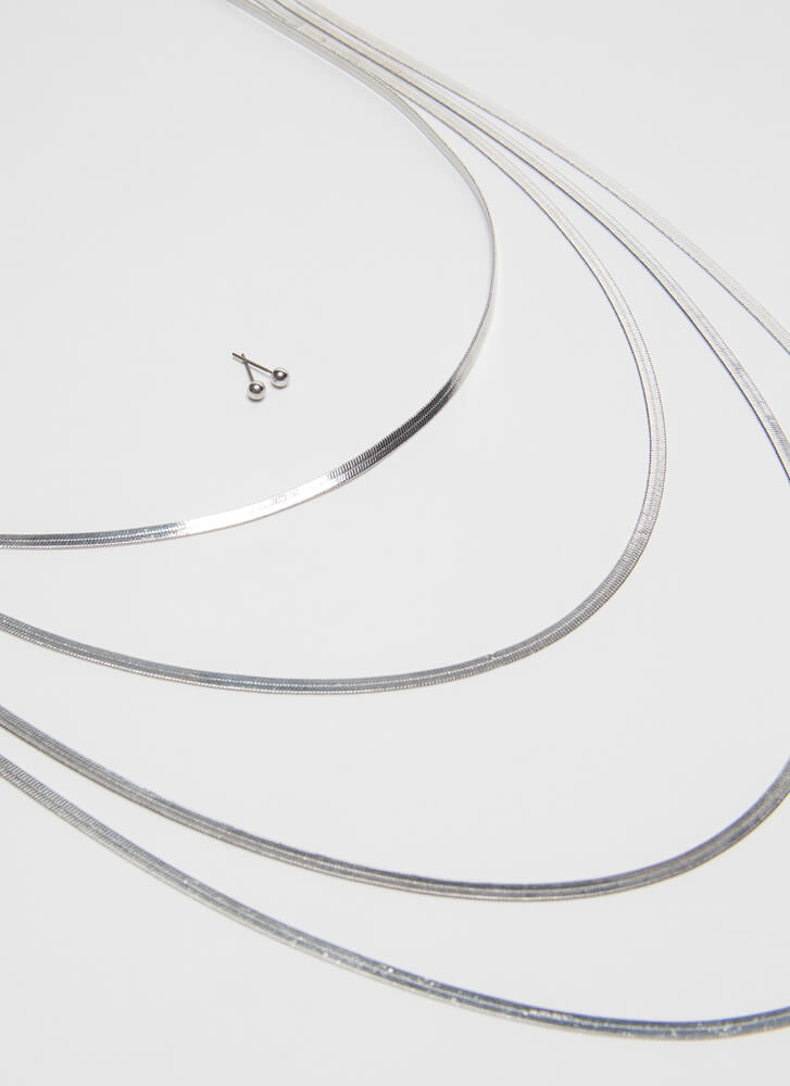 So Fly Draped Herringbone Chain Necklace SILVER