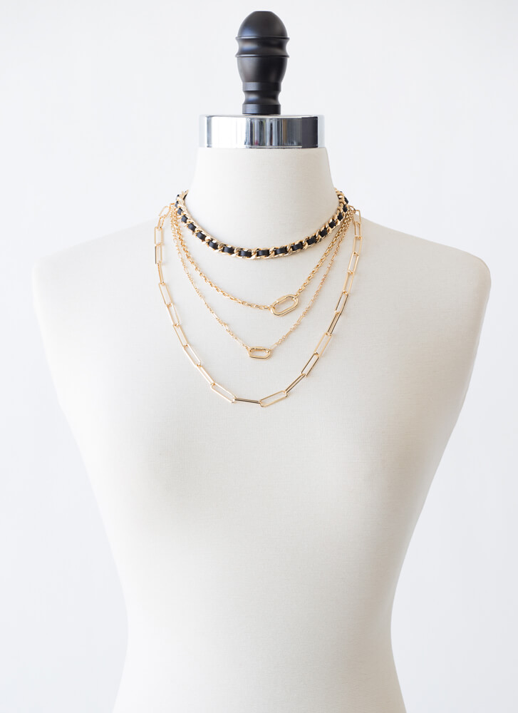 Link Fast Layered Chain Necklace BLACK