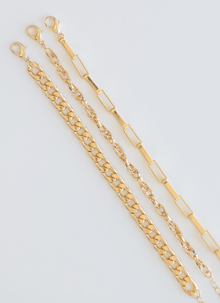 Armed And Ready Chain Bracelet Trio GOLD