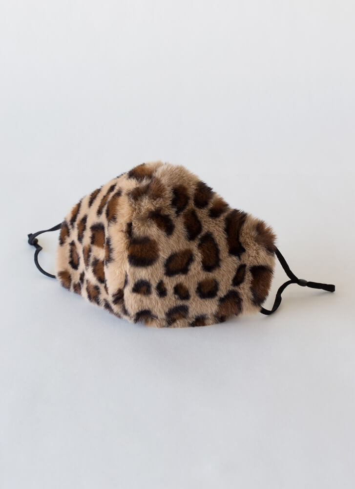 Warm Front Pocketed Faux Fur Face Mask LEOPARD