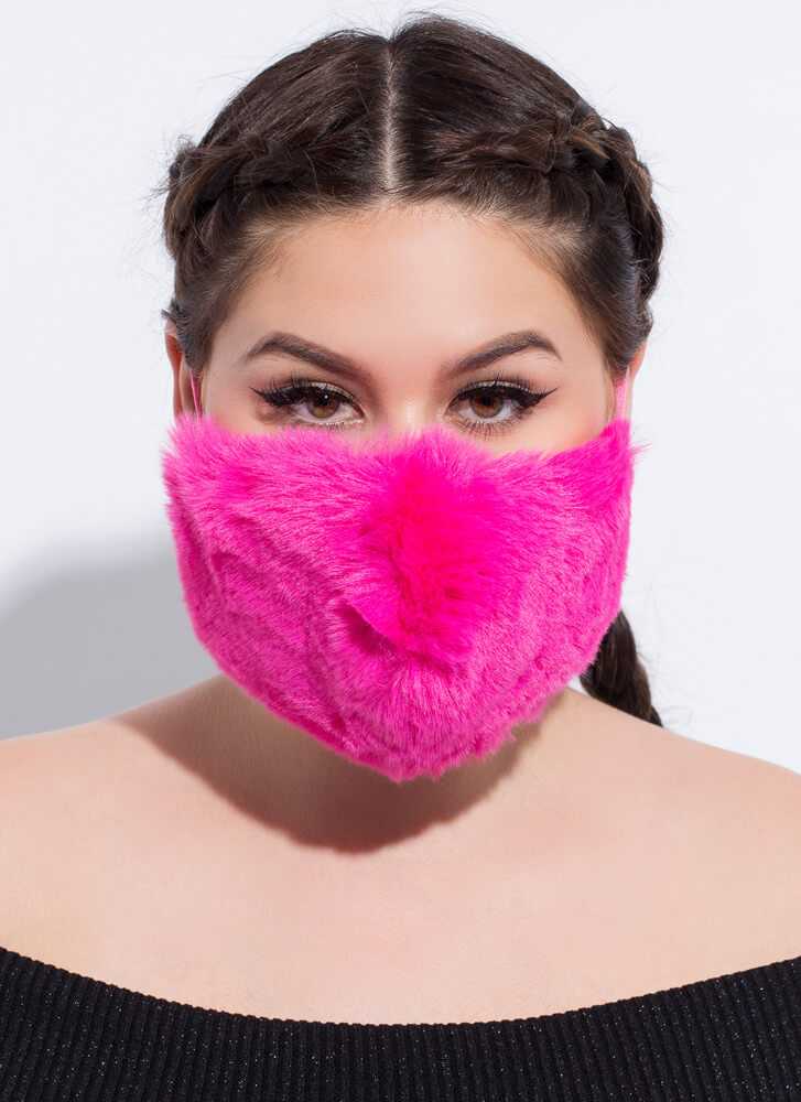 Warm Front Pocketed Faux Fur Face Mask PINK