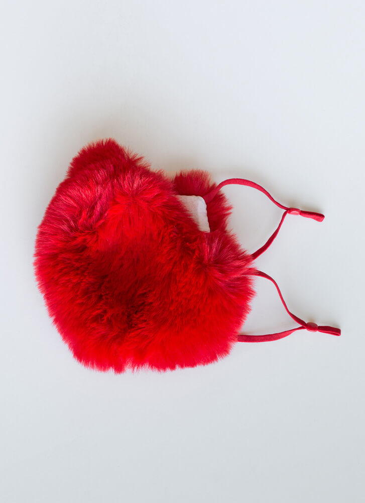Warm Front Pocketed Faux Fur Face Mask RED