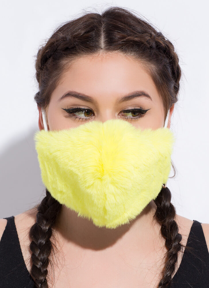 Warm Front Pocketed Faux Fur Face Mask YELLOW