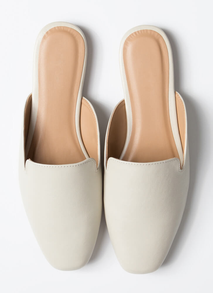 Walk Of Fame Faux Leather Mule Flats IVORY