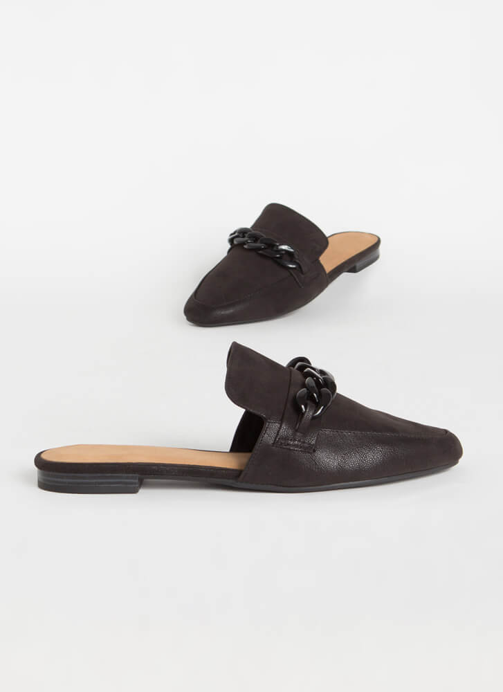 Ground Floor Chain Accent Mule Flats BLACK