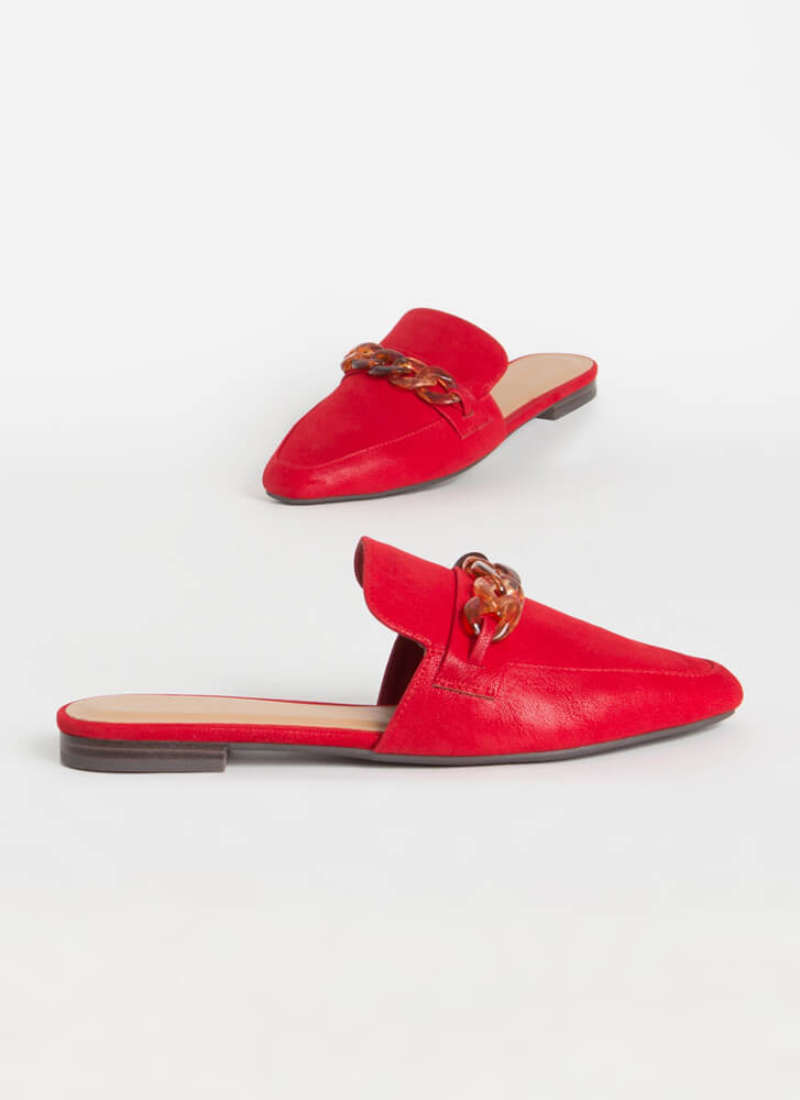 Ground Floor Chain Accent Mule Flats RED