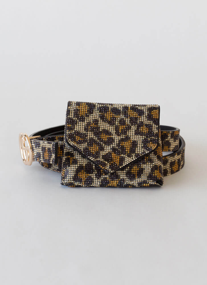 Luxe Leopard Jeweled Belt And Pouch Set LEOPARD
