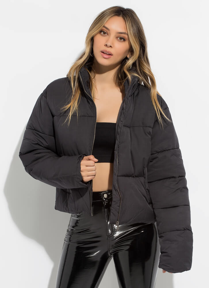 Warm Bodies Quilted Puffy Jacket BLACK