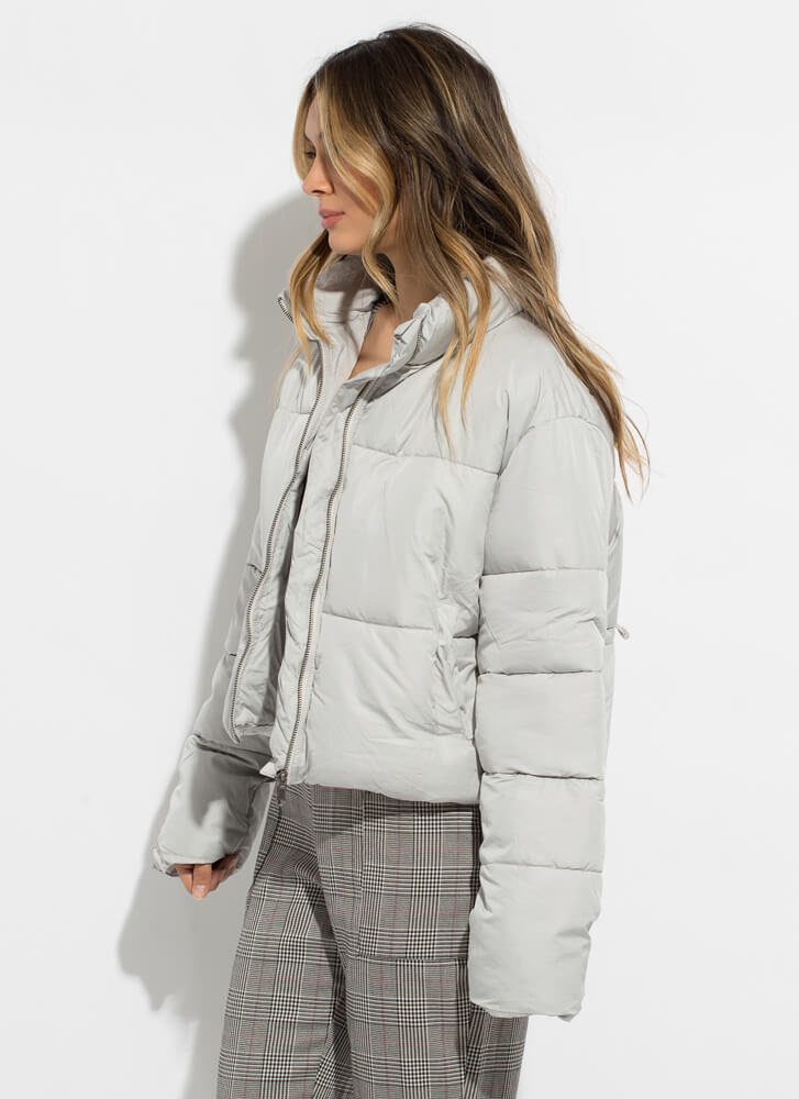 Warm Bodies Quilted Puffy Jacket CLOUD