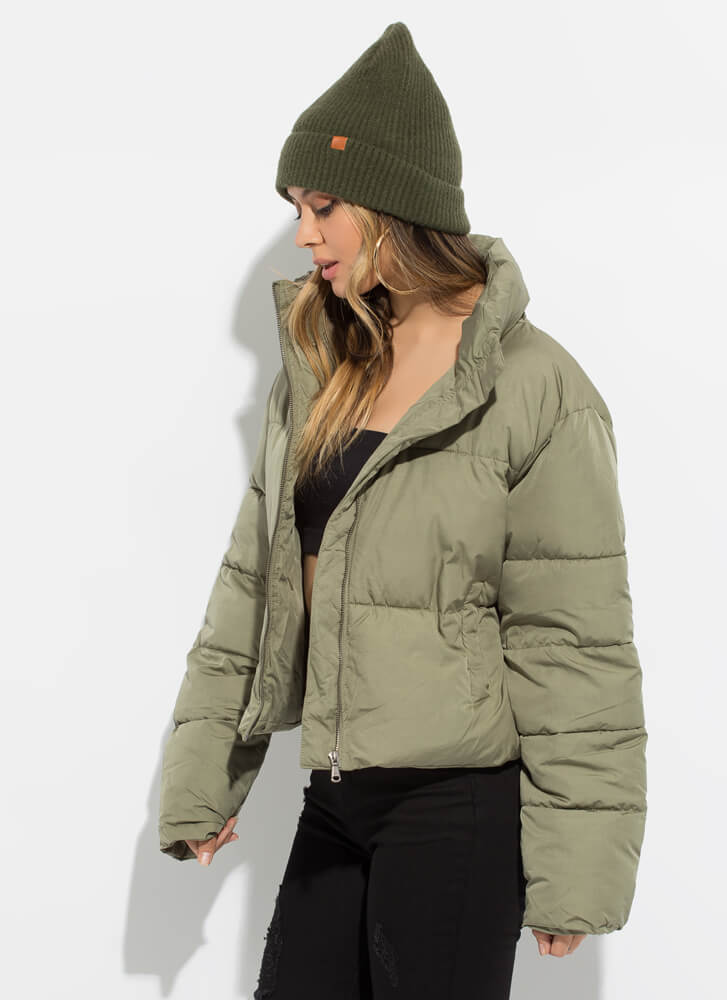 Warm Bodies Quilted Puffy Jacket OLIVE