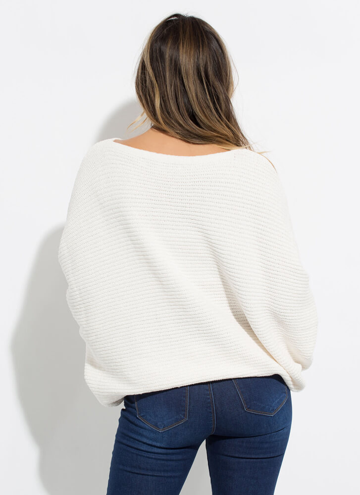 Effortlessly Chic Slouchy Dolman Sweater OFFWHITE