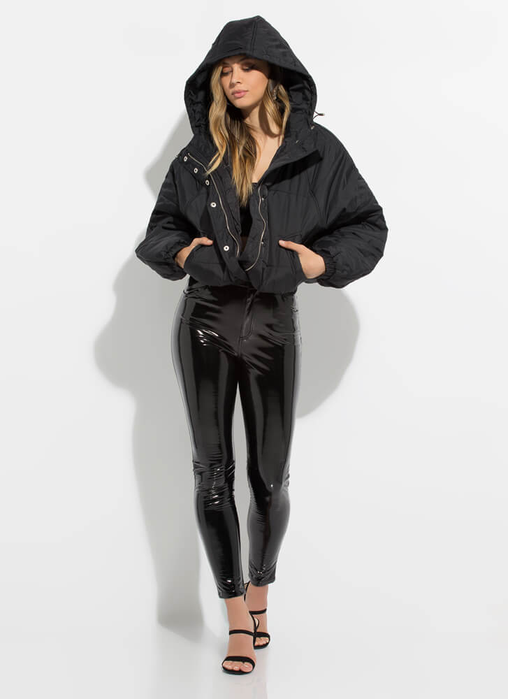 Weather Conditions Puffy Hooded Jacket BLACK
