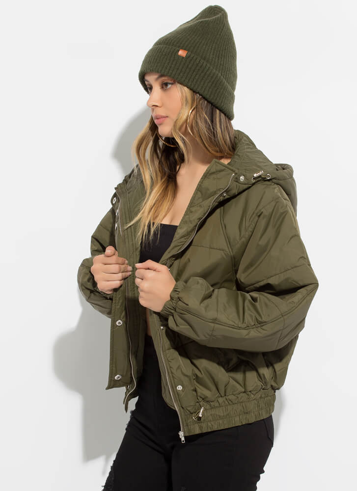 Weather Conditions Puffy Hooded Jacket OLIVE