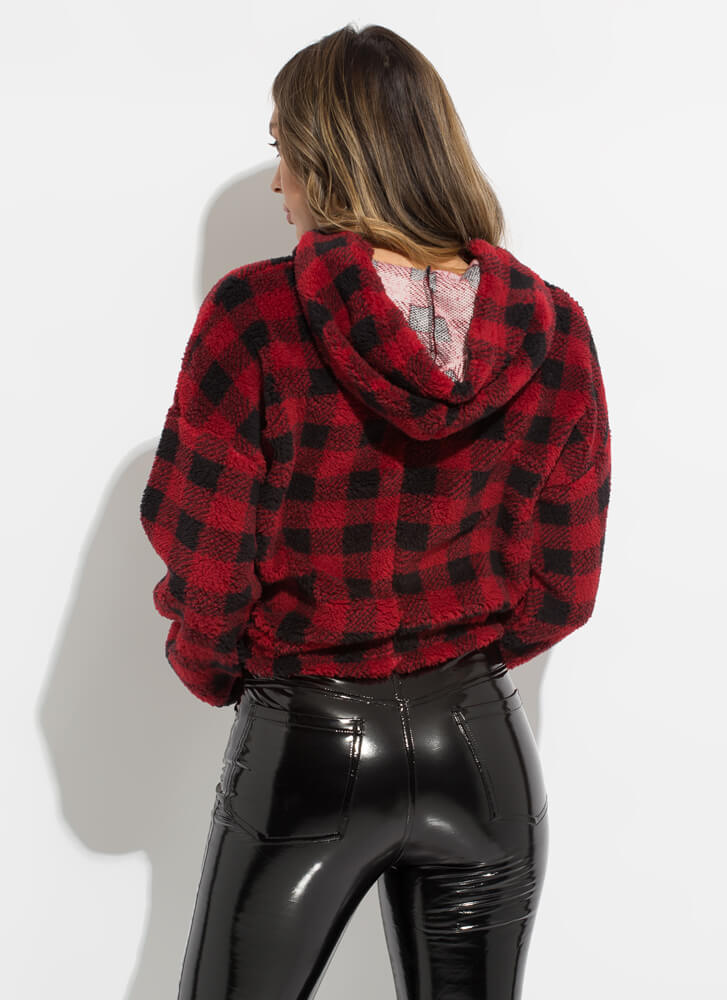 Check Out Hooded Buffalo Plaid Sweater RED