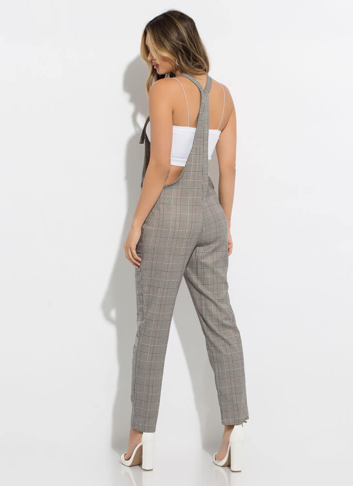 The Best Overall Plaid Jumpsuit GREY