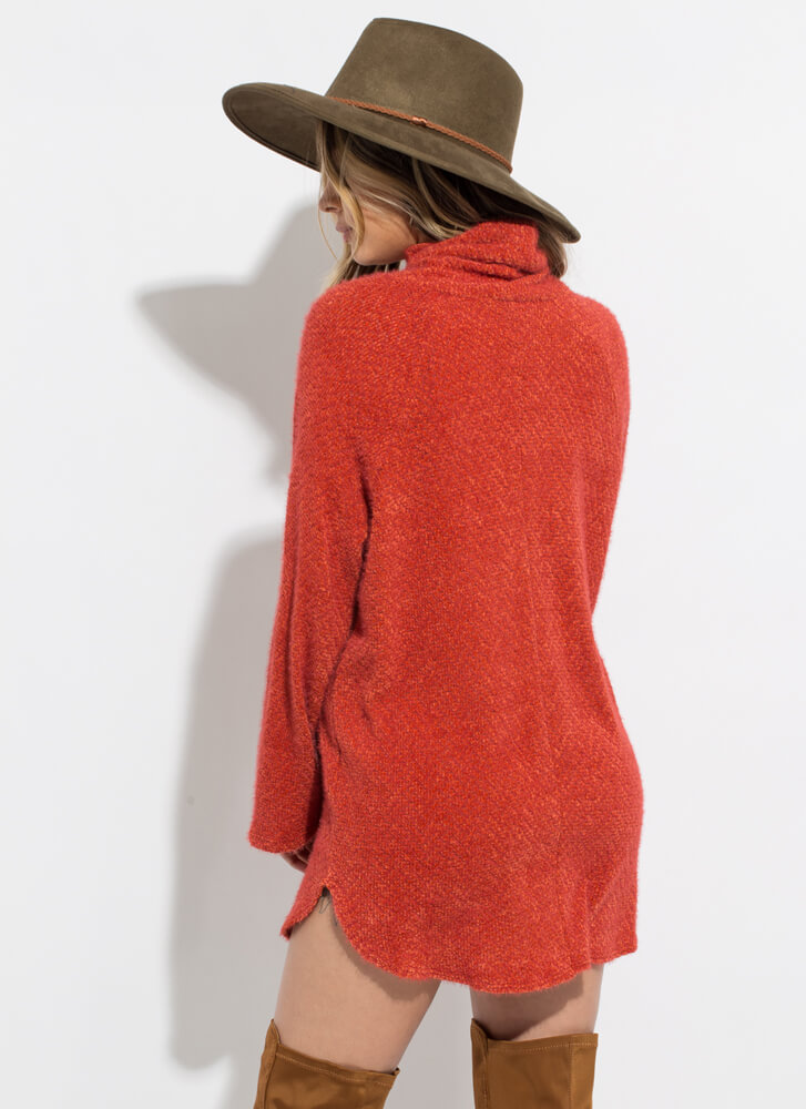 Short Winter Fuzzy Knit Sweater Dress BRICK