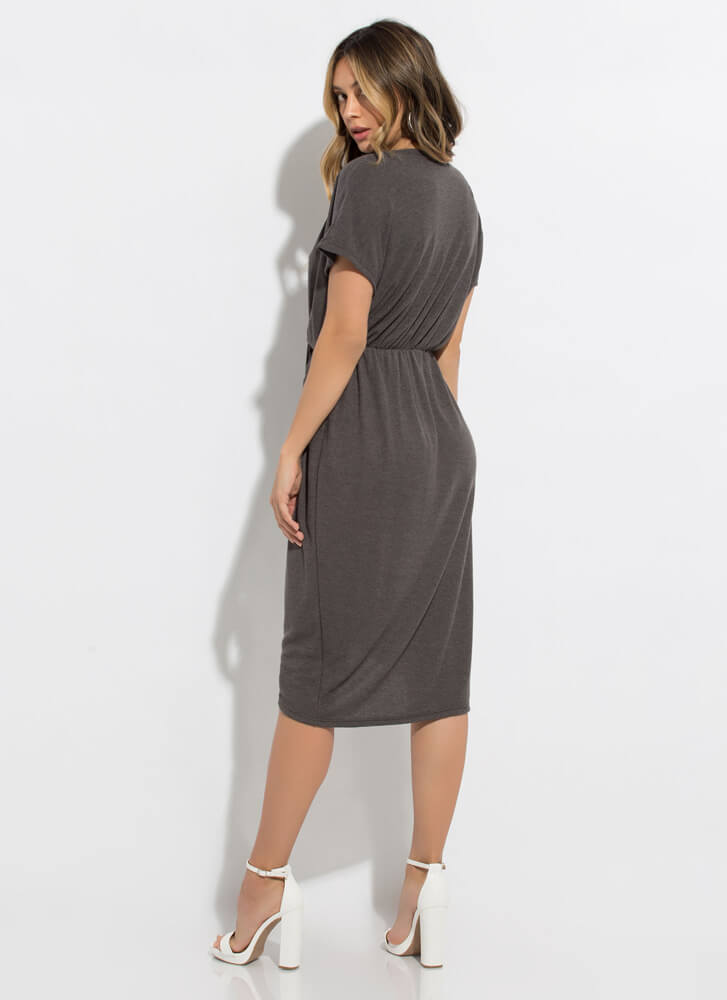 Daily Wrap-Up Knotted Midi Dress CHARCOAL