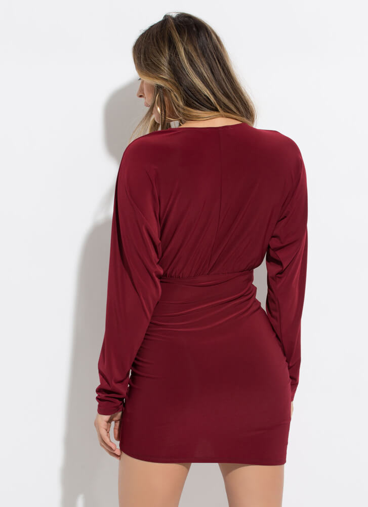 Can You Be Shirr Ruched Minidress BURGUNDY