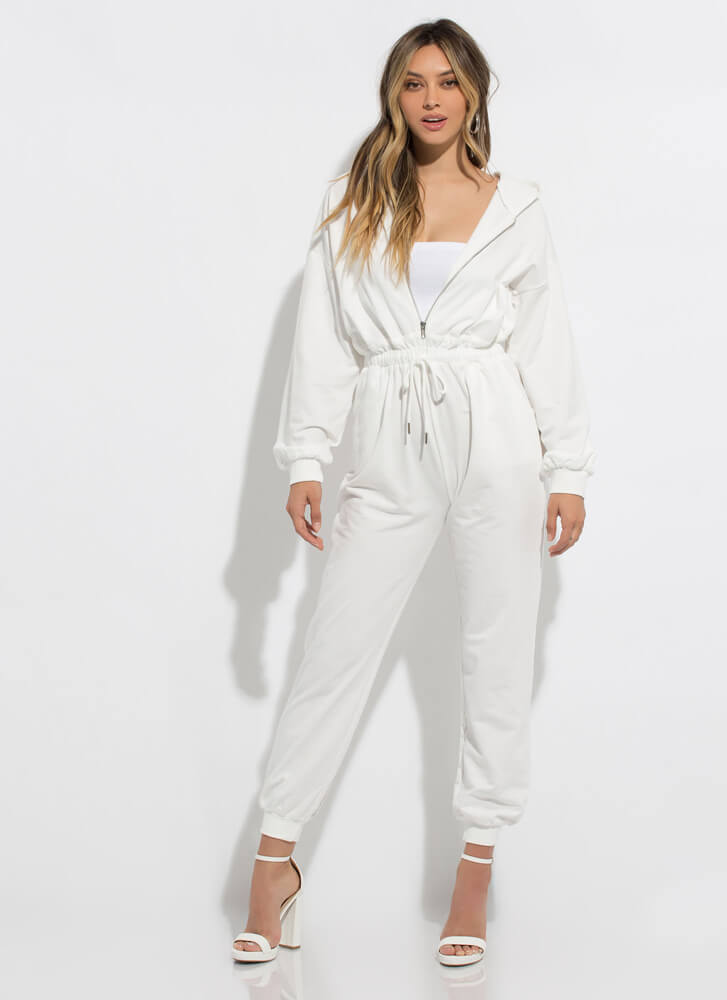 My New Hoodie Zip-Front Jogger Jumpsuit OFFWHITE