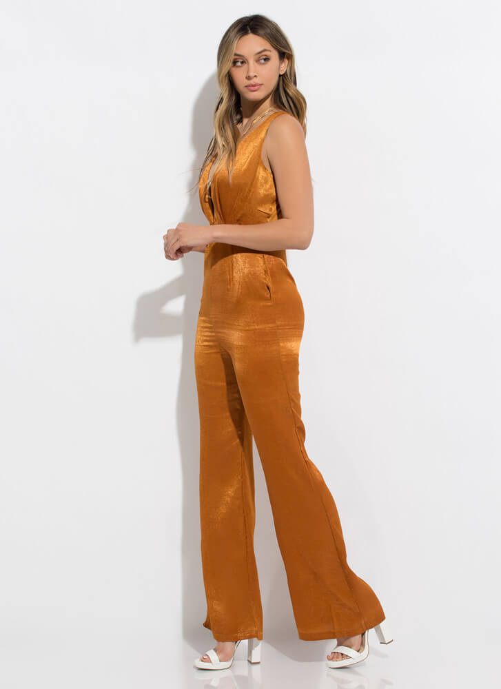 Dressing Up Silky Plunging Jumpsuit RUST