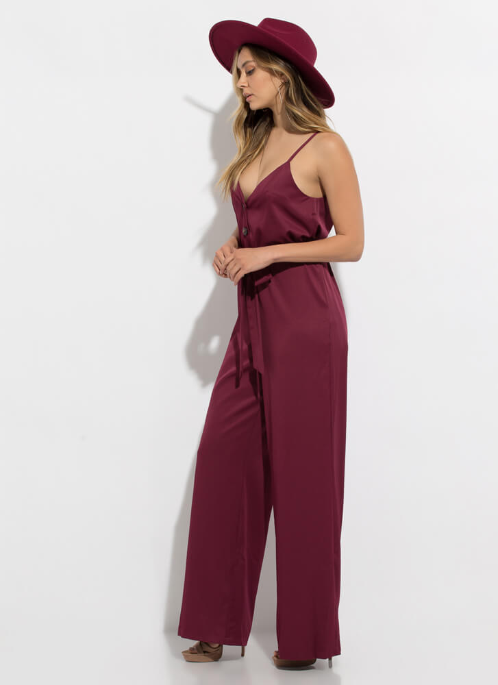 Stylin' Tied Open-Back Palazzo Jumpsuit WINE