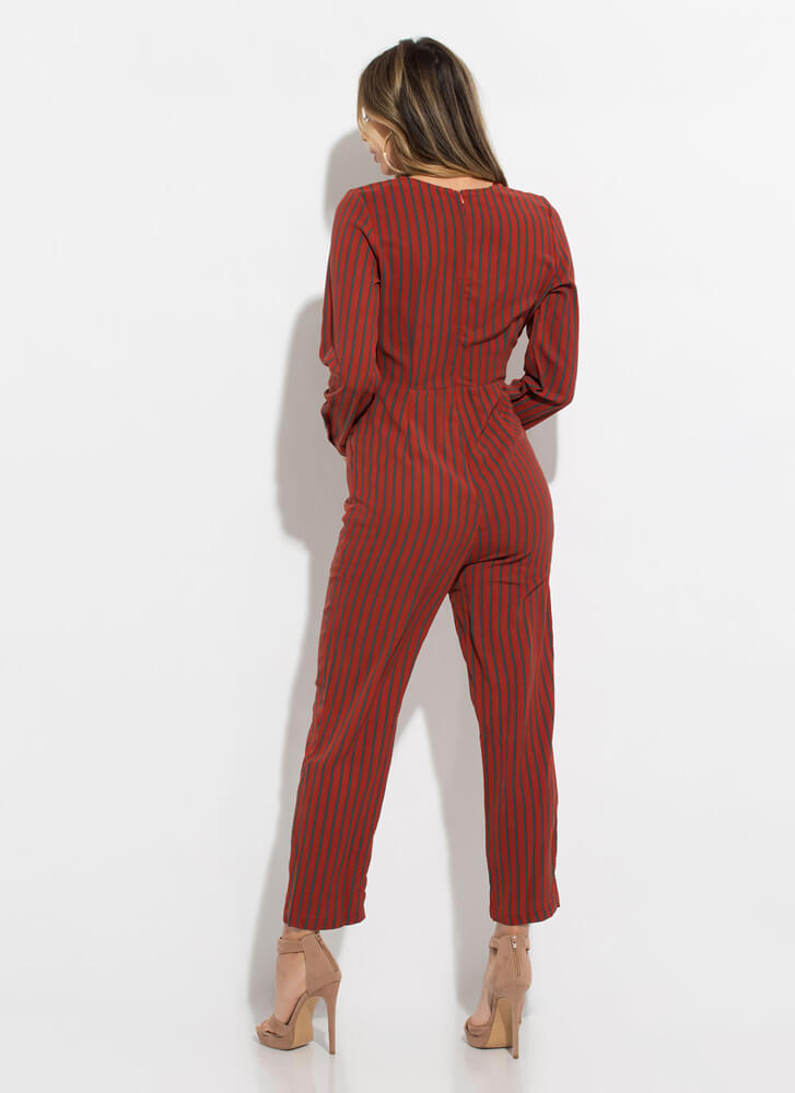 Get Yourself In Line Pinstriped Jumpsuit RUST
