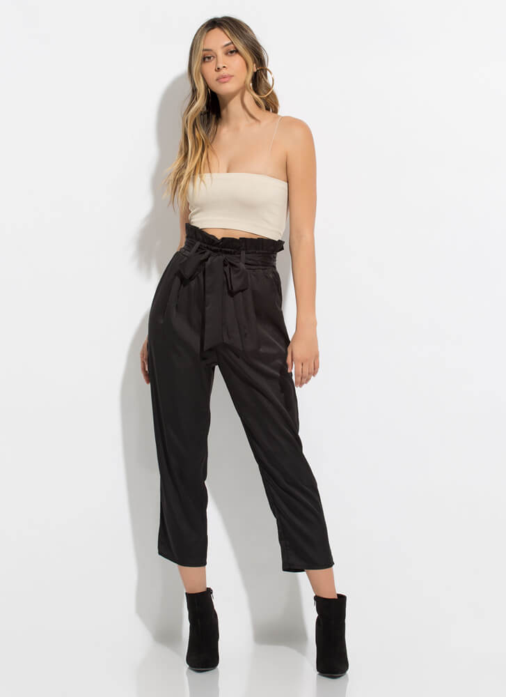 Perfection Tied Paper-Bag Waist Trousers BLACK