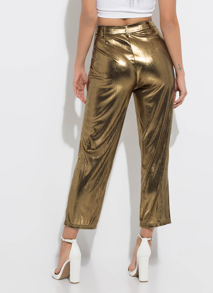 Tinsel Town Shiny Foiled Trousers GOLD