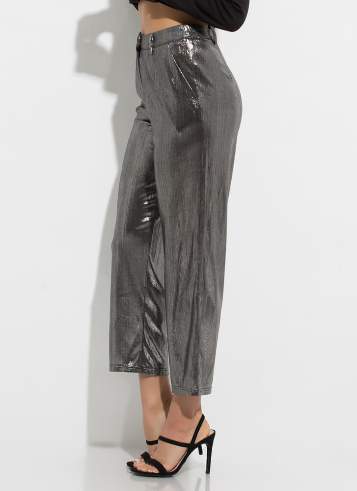 Tinsel Town Shiny Foiled Trousers SILVER
