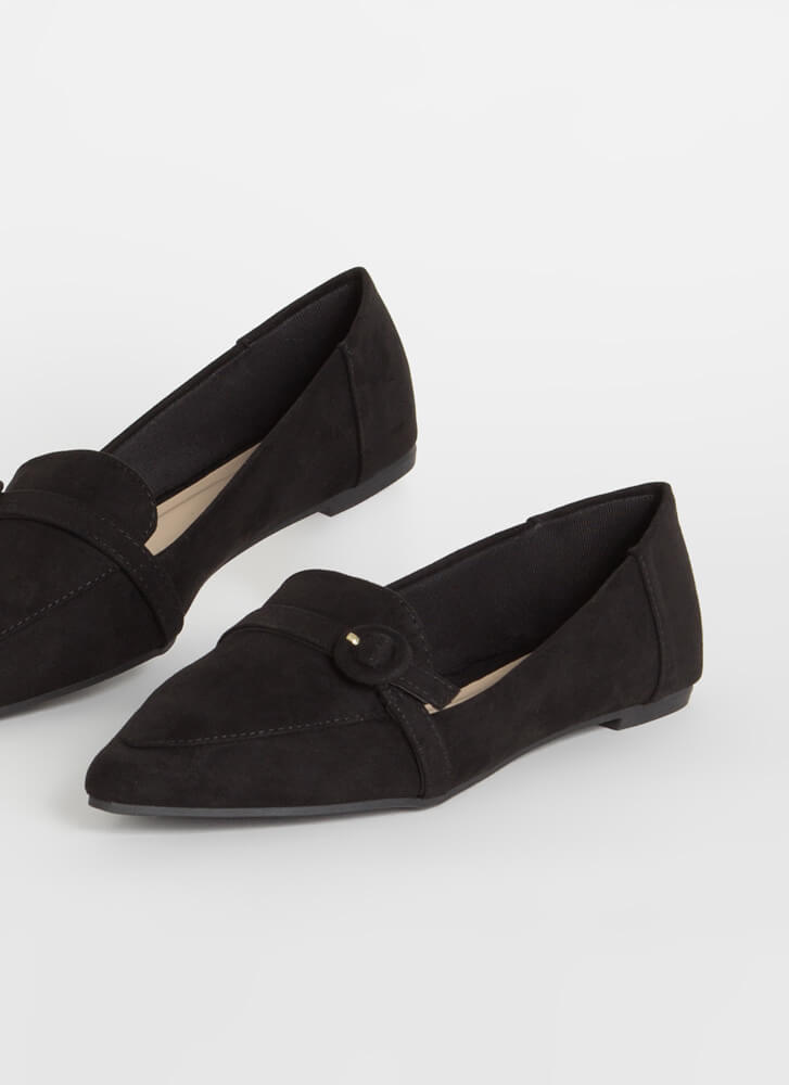 Business Class Buckled Loafer Flats BLACK