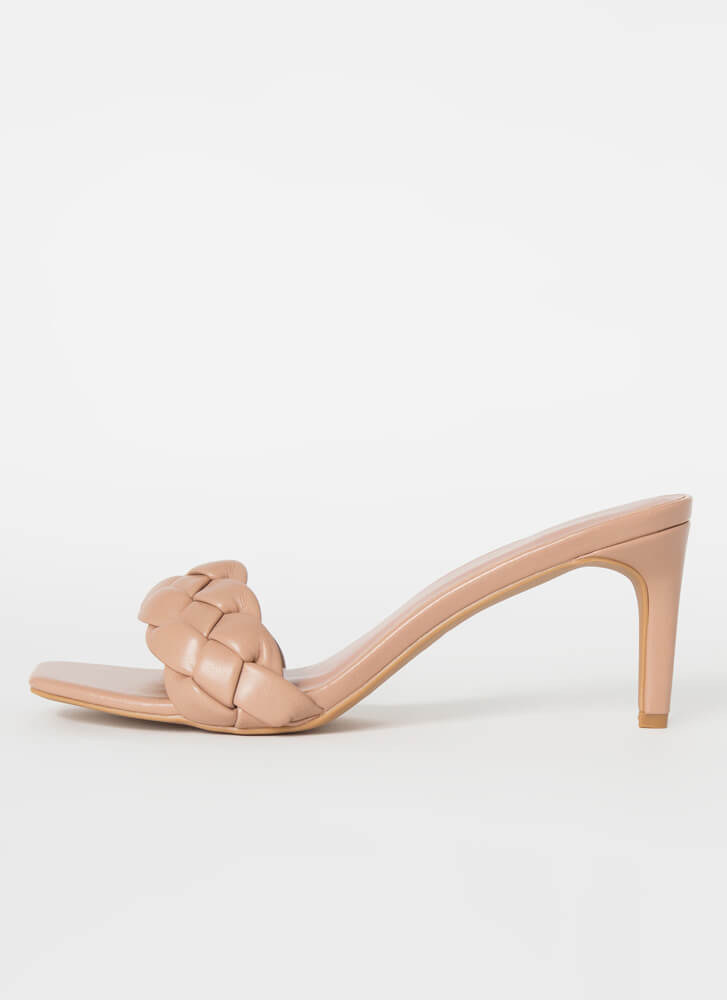 Weave It To Me Braided Mule Heels CAMEL
