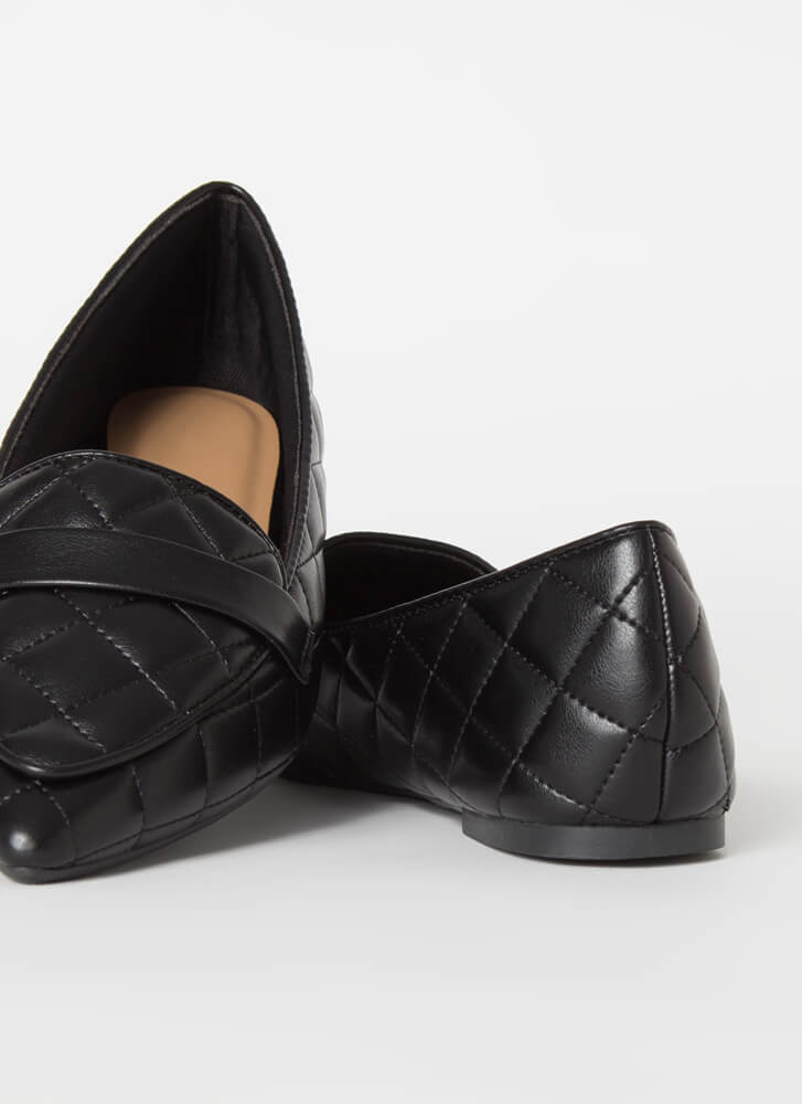 Chic-Easy Pointy Quilted Loafer Flats BLACK