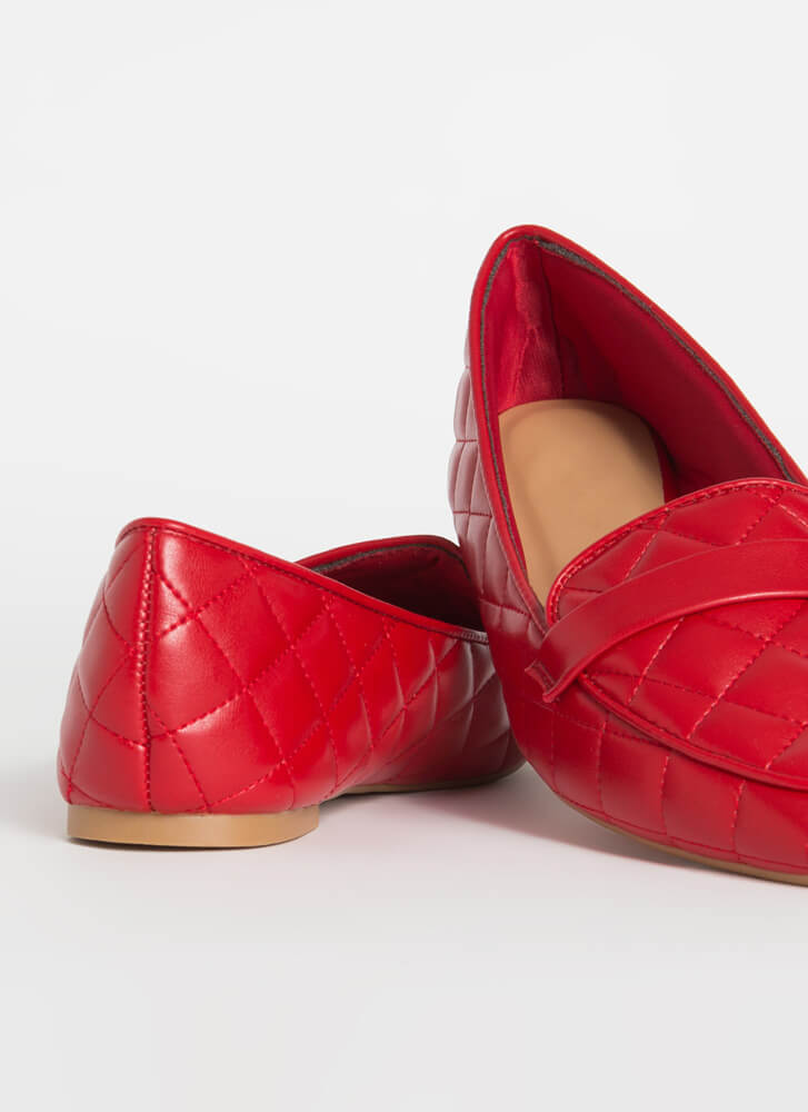 Chic-Easy Pointy Quilted Loafer Flats RED