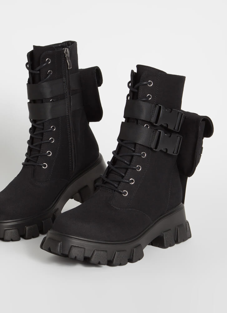 Hard Carry Pouch Strap Combat Boots BLACK