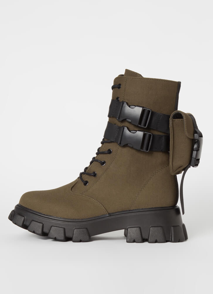 Hard Carry Pouch Strap Combat Boots OLIVE