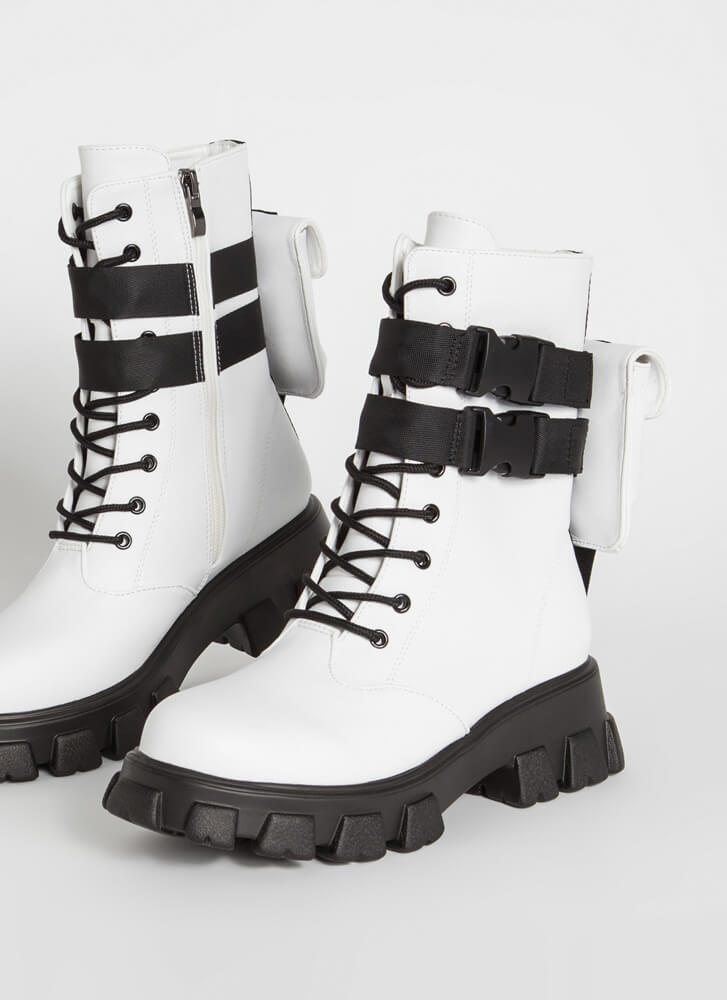 Hard Carry Pouch Strap Combat Boots WHITE