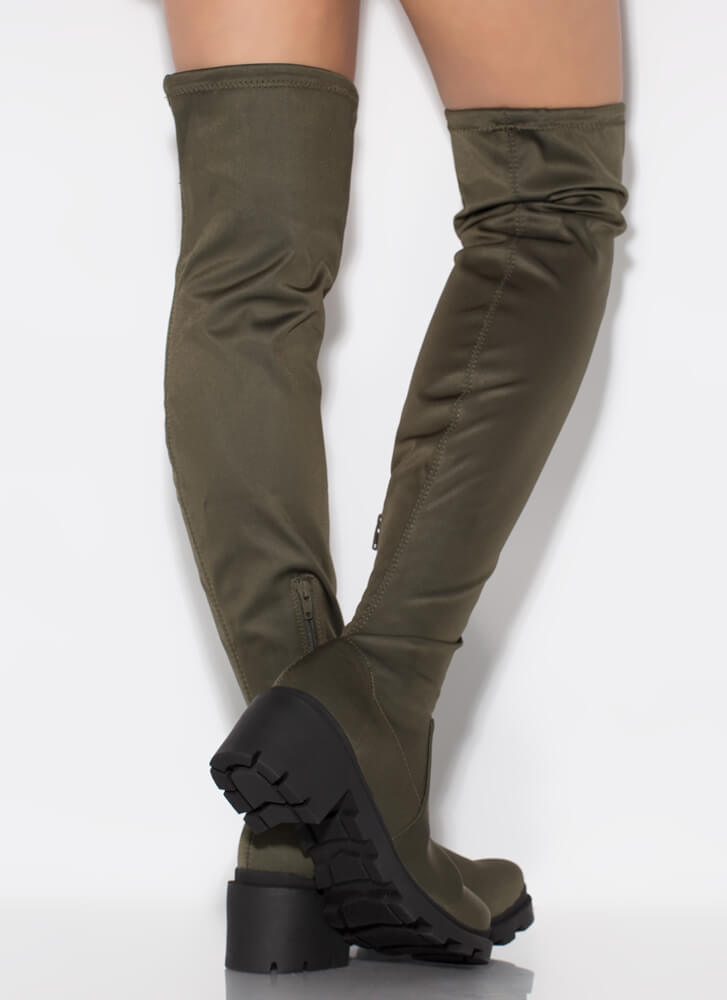 Lug Actually Block Heel Thigh-High Boots OLIVE