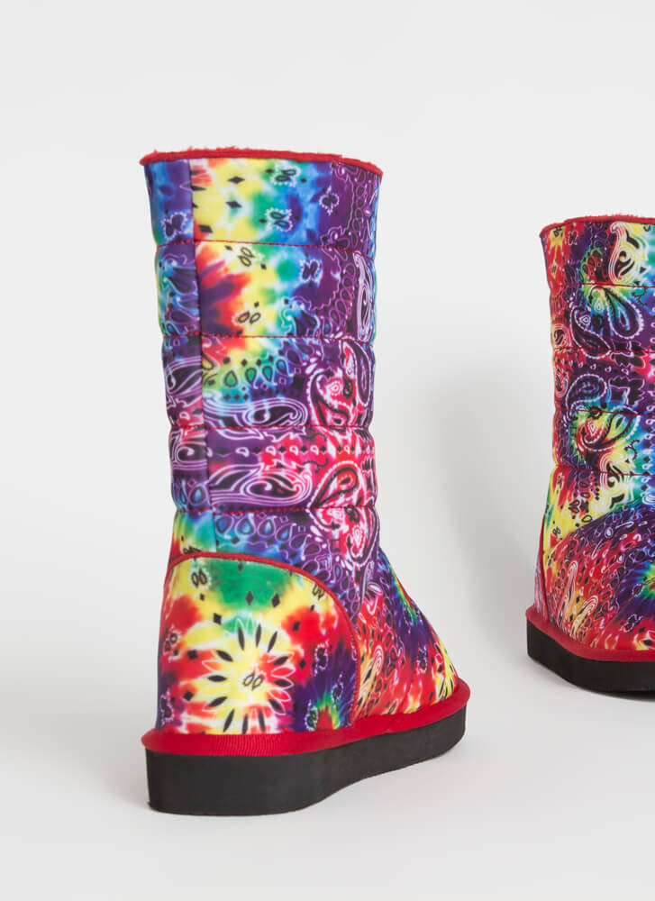 Bandana Babe Quilted Paisley Boots RAINBOW