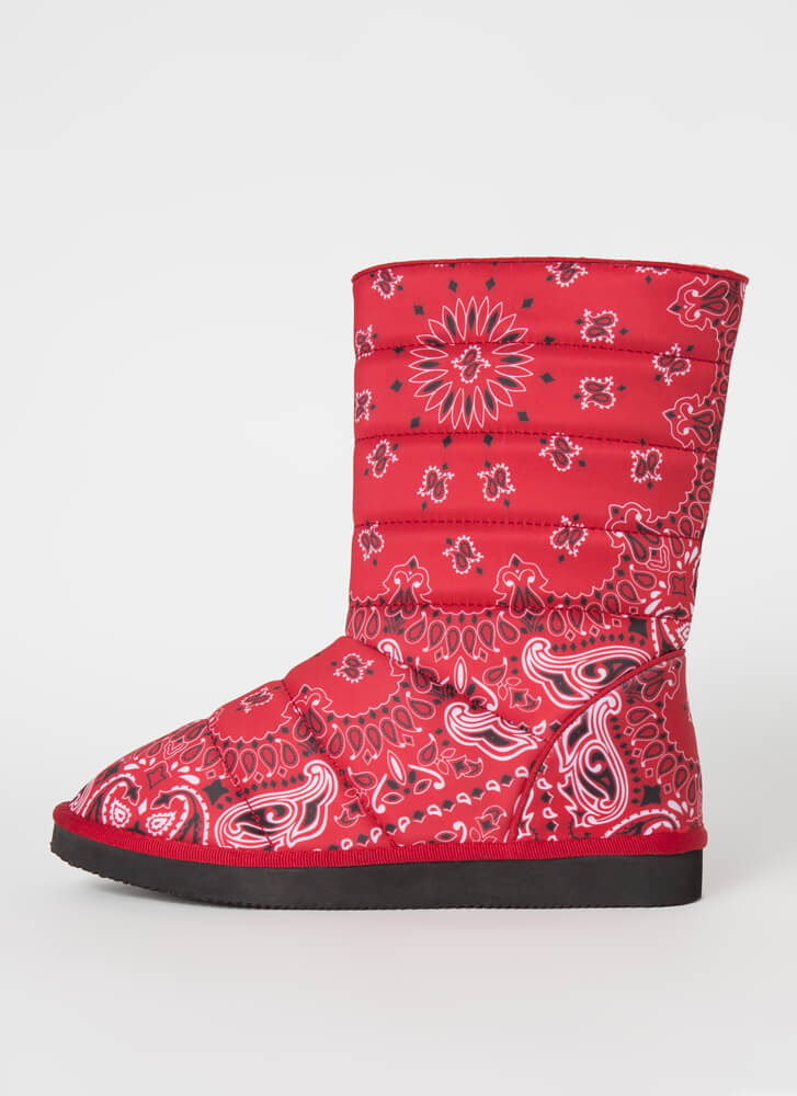 Bandana Babe Quilted Paisley Boots RED