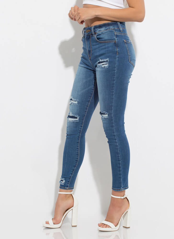 Peekaboo Distressed Patched Skinny Jeans MEDBLUE
