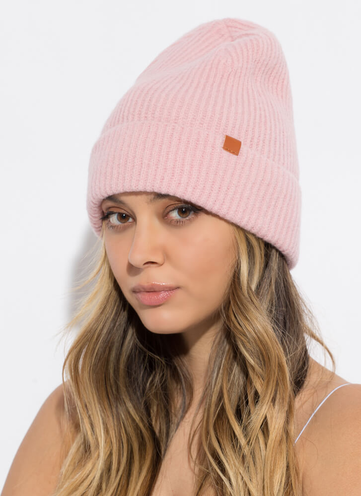 It's Cold Outside Fuzzy Rib Knit Beanie PINK